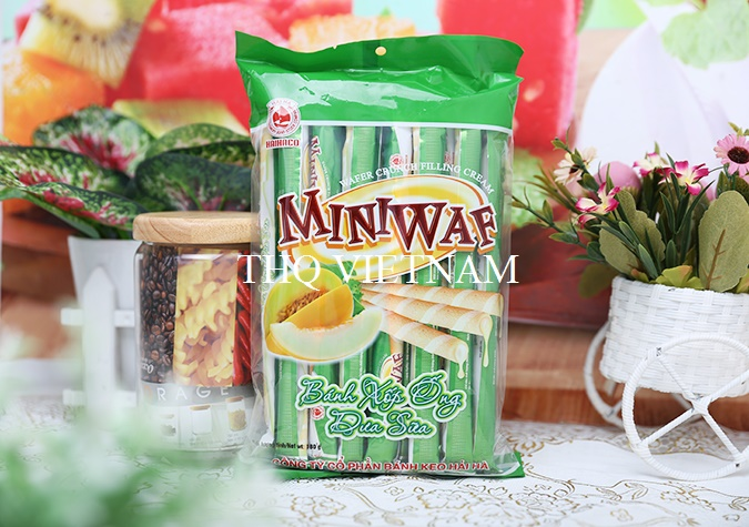 [THQ VIETNAM ] MINIWAF Wafer Tube Crunch Melon Milk flavor 180gr*45 packs
