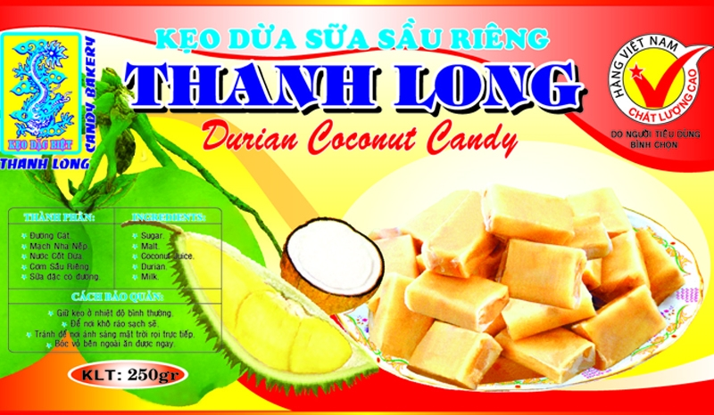 [THQ Vietnam] DURIAN COCONUT CANDY THANH LONG 250gr*50packs