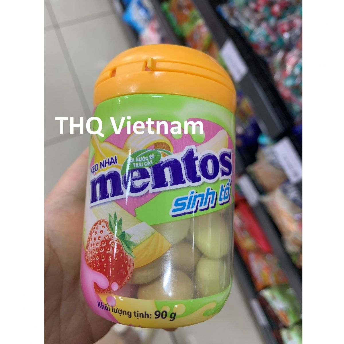 Mentoz Chewing Strawberry , Banana, Cantaloupe Smoothie Flavor 6 jars